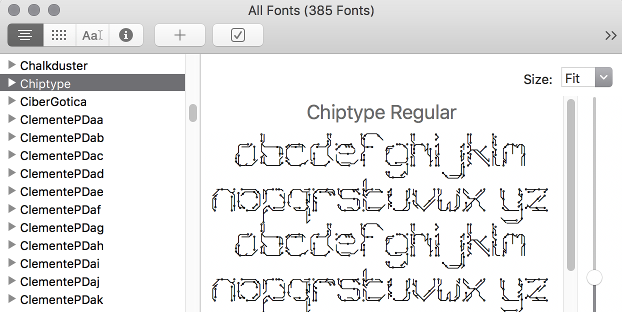 A preview of a glitchy font
