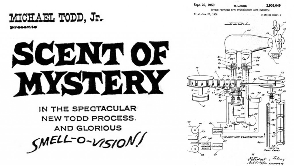 A vintage ad for a smell-o-vision film called 'Scent of Mystery'